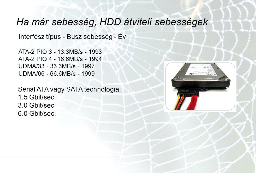 Interfész típus - Busz sebesség - Év ATA-2 PIO 3 - 13.3MB/s - 1993 ATA-2 PIO 4 - 16.6MB/s - 1994 UDMA/33 - 33.3MB/s - 1997 UDMA/66 - 66.6MB/s - 1999 Ha már sebesség, HDD átviteli sebességek Serial ATA vagy SATA technologia: 1.5 Gbit/sec 3.0 Gbit/sec 6.0 Gbit/sec.