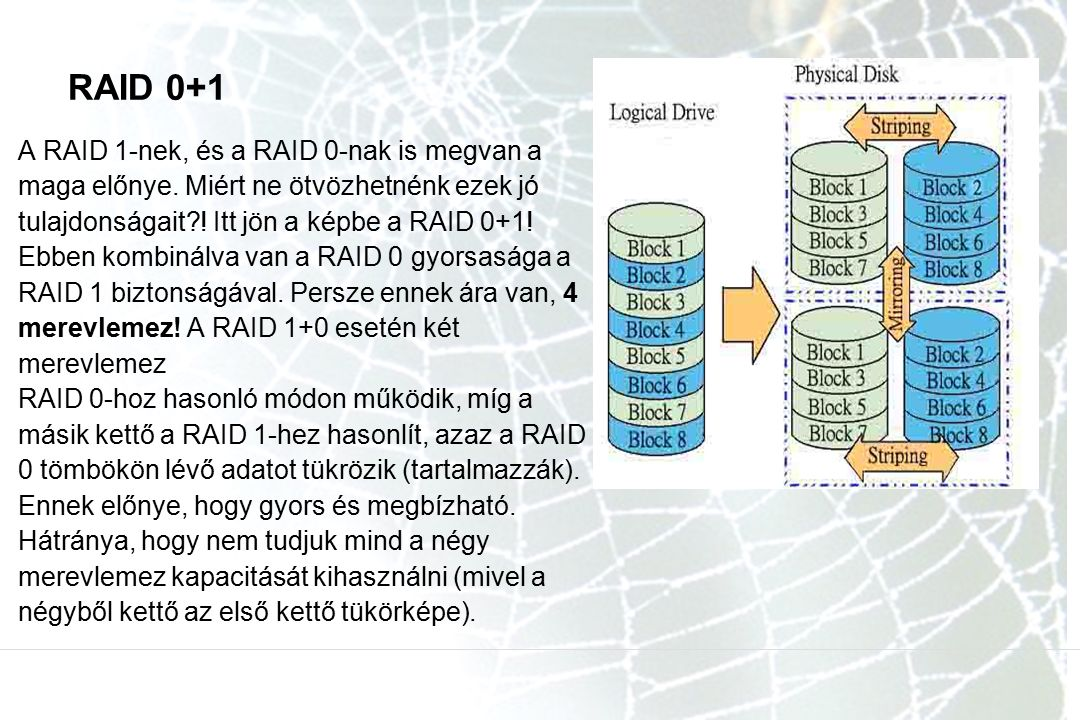 RAID 0+1 A RAID 1-nek, és a RAID 0-nak is megvan a maga előnye. Miért ne ötvözhetnénk ezek jó tulajdonságait?! Itt jön a képbe a RAID 0+1! Ebben kombi
