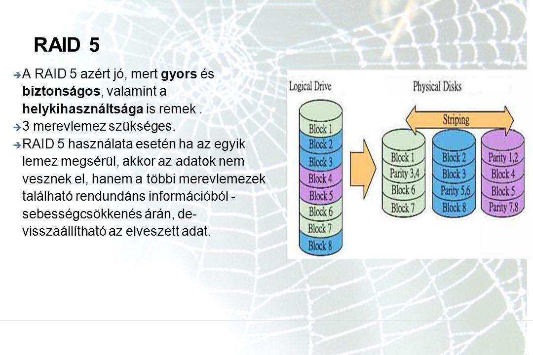 RAID 5  A RAID 5 azért jó, mert gyors és biztonságos, valamint a helykihasználtsága is remek.