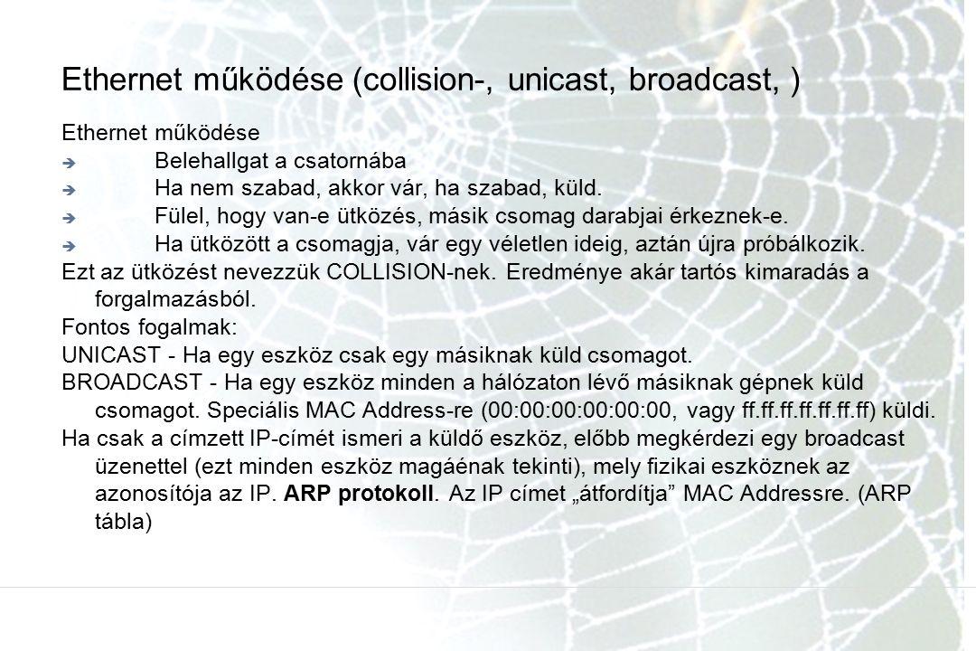 Ethernet működése (collision-, unicast, broadcast, ) Ethernet működése  Belehallgat a csatornába  Ha nem szabad, akkor vár, ha szabad, küld.  Fülel