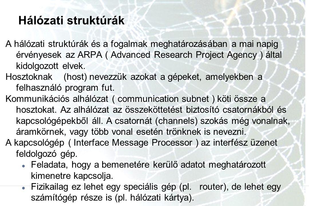Hálózati struktúrák A hálózati struktúrák és a fogalmak meghatározásában a mai napig érvényesek az ARPA ( Advanced Research Project Agency ) által kidolgozott elvek.