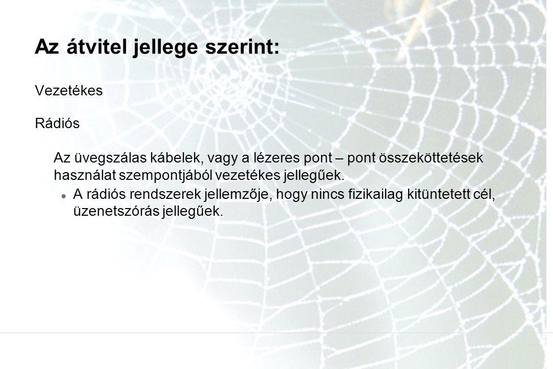 Az átvitel jellege szerint: Vezetékes Rádiós Az üvegszálas kábelek, vagy a lézeres pont – pont összeköttetések használat szempontjából vezetékes jelle