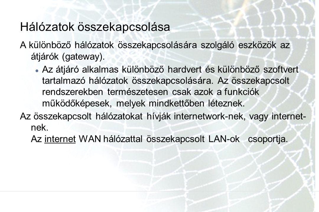 Hálózatok összekapcsolása A különböző hálózatok összekapcsolására szolgáló eszközök az átjárók (gateway). Az átjáró alkalmas különböző hardvert és kül