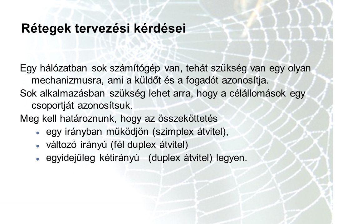 Rétegek tervezési kérdései Egy hálózatban sok számítógép van, tehát szükség van egy olyan mechanizmusra, ami a küldőt és a fogadót azonosítja.