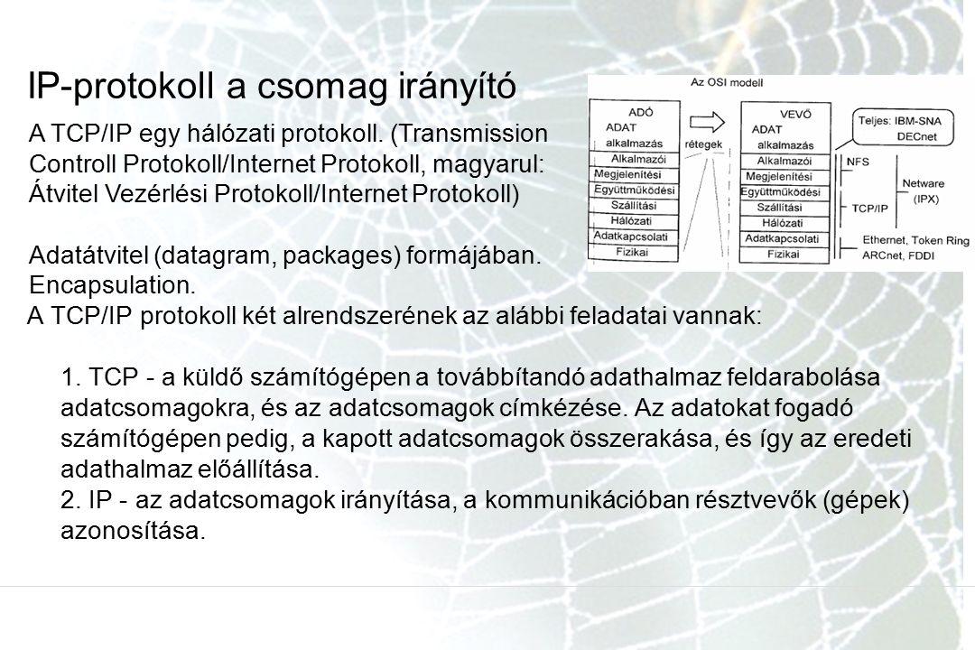 IP-protokoll a csomag irányító A TCP/IP protokoll két alrendszerének az alábbi feladatai vannak: 1. TCP - a küldő számítógépen a továbbítandó adathalm