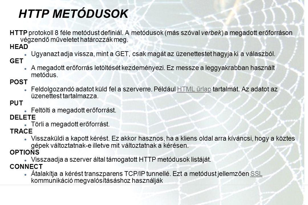HTTP METÓDUSOK HTTP protokoll 8 féle metódust definiál. A metódusok (más szóval verbek) a megadott erőforráson végzendő műveletet határozzák meg. HEAD