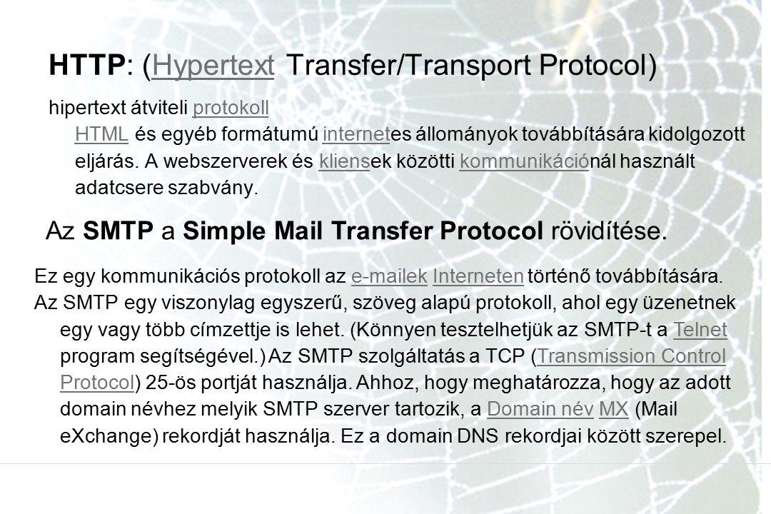 HTTP: (Hypertext Transfer/Transport Protocol)Hypertext hipertext átviteli protokoll HTML és egyéb formátumú internetes állományok továbbítására kidolgozott eljárás.