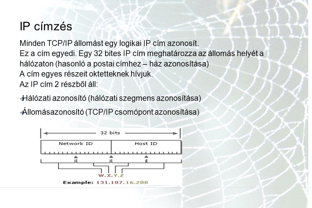 IP címzés Minden TCP/IP állomást egy logikai IP cím azonosít. Ez a cím egyedi. Egy 32 bites IP cím meghatározza az állomás helyét a hálózaton (hasonló