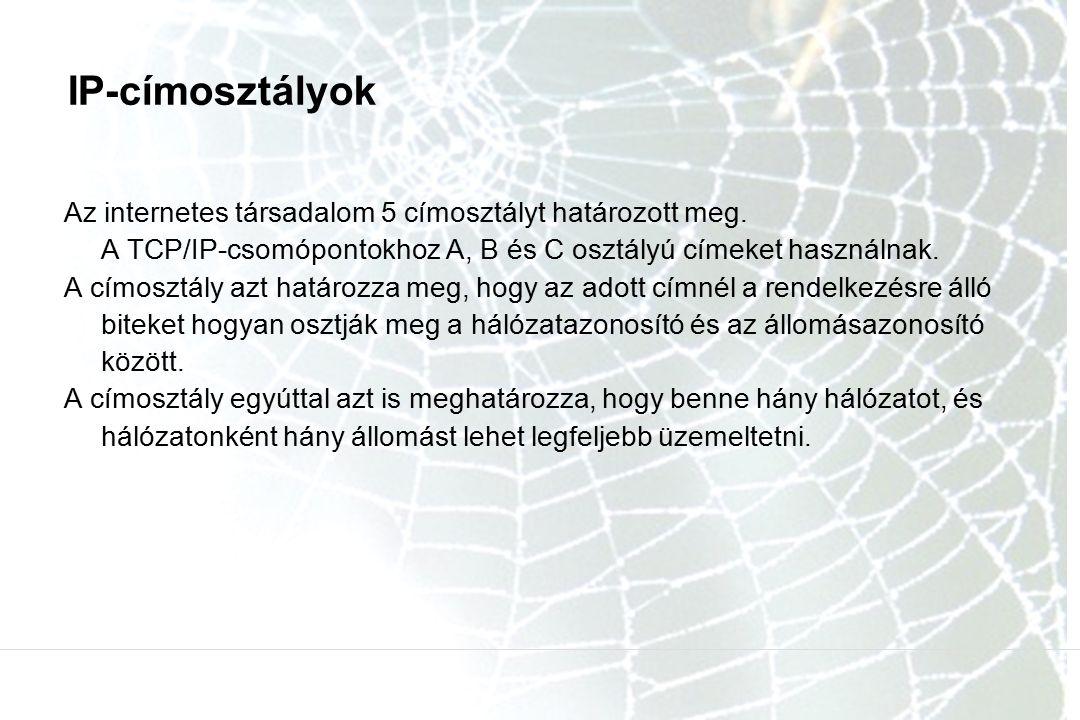 IP-címosztályok Az internetes társadalom 5 címosztályt határozott meg.