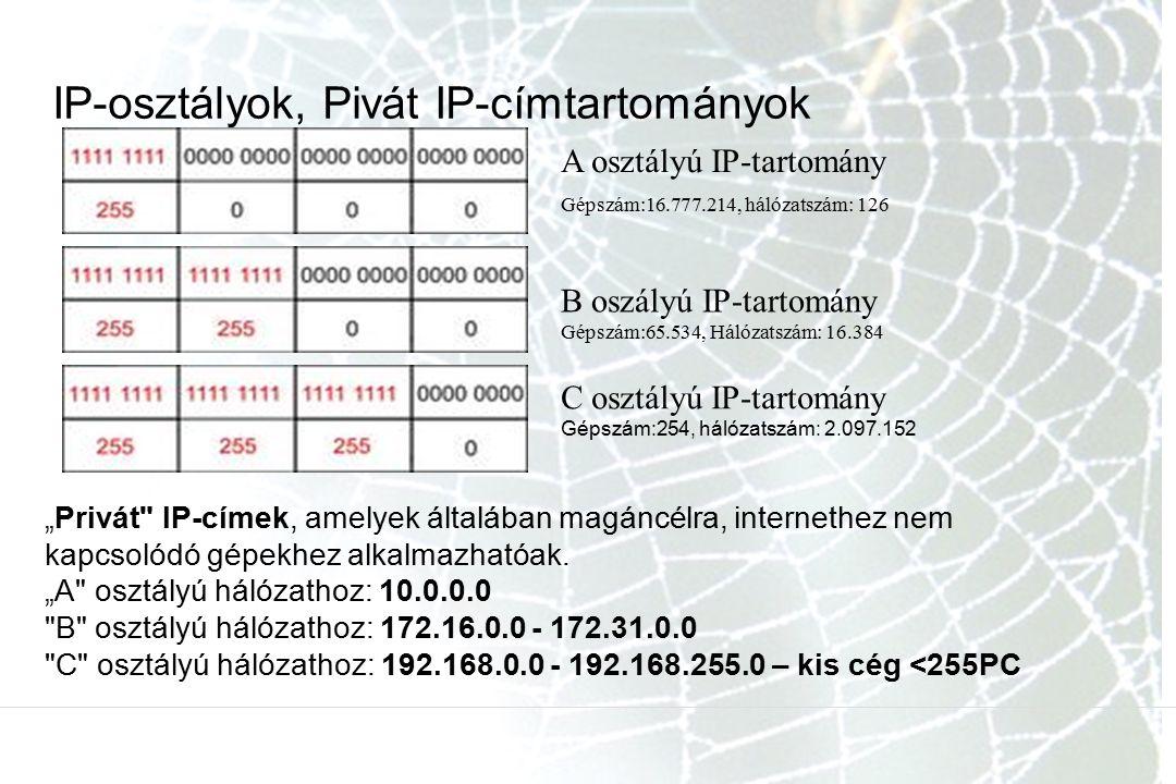 """IP-osztályok, Pivát IP-címtartományok B oszályú IP-tartomány Gépszám:65.534, Hálózatszám: 16.384 A osztályú IP-tartomány Gépszám:16.777.214, hálózatszám: 126 C osztályú IP-tartomány Gépszám:254, hálózatszám: 2.097.152 """"Privát IP-címek, amelyek általában magáncélra, internethez nem kapcsolódó gépekhez alkalmazhatóak."""