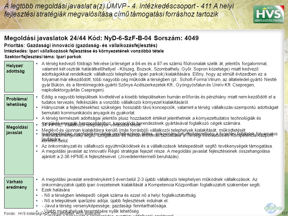 137 Forrás:HVS kistérségi HVI, helyi érintettek, HVS adatbázis Megoldási javaslatok 24/44 Kód: NyD-6-SzF-B-04 Sorszám: 4049 A legtöbb megoldási javaslat a(z) ÚMVP - 4.