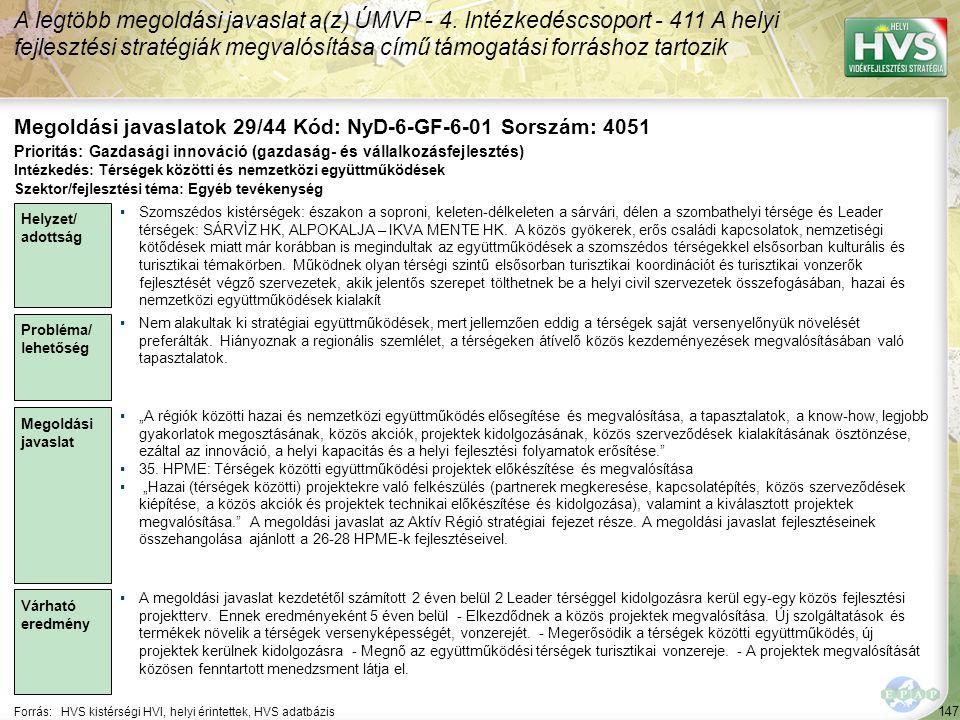147 Forrás:HVS kistérségi HVI, helyi érintettek, HVS adatbázis Megoldási javaslatok 29/44 Kód: NyD-6-GF-6-01 Sorszám: 4051 A legtöbb megoldási javasla