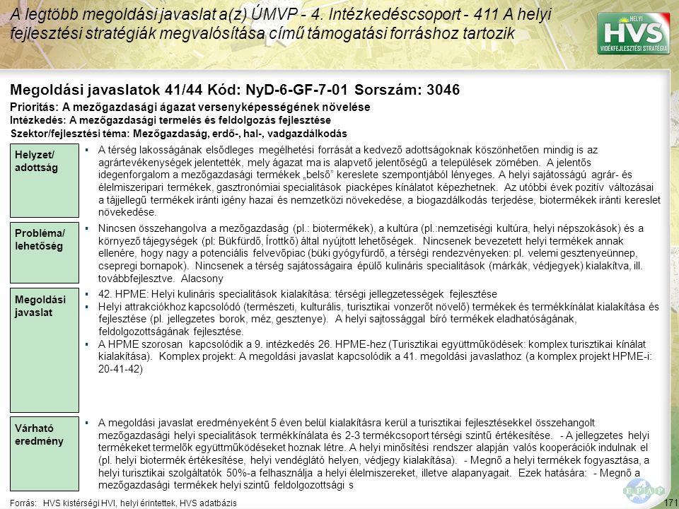 171 Forrás:HVS kistérségi HVI, helyi érintettek, HVS adatbázis Megoldási javaslatok 41/44 Kód: NyD-6-GF-7-01 Sorszám: 3046 A legtöbb megoldási javasla