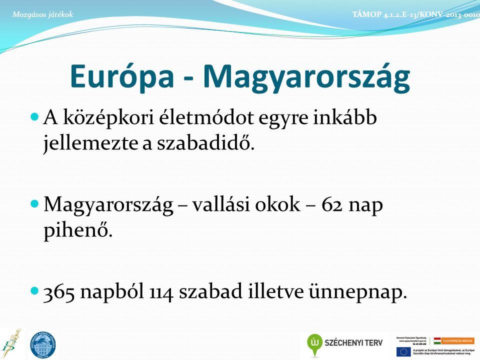 Európa - Magyarország A középkori életmódot egyre inkább jellemezte a szabadidő. Magyarország – vallási okok – 62 nap pihenő. 365 napból 114 szabad il