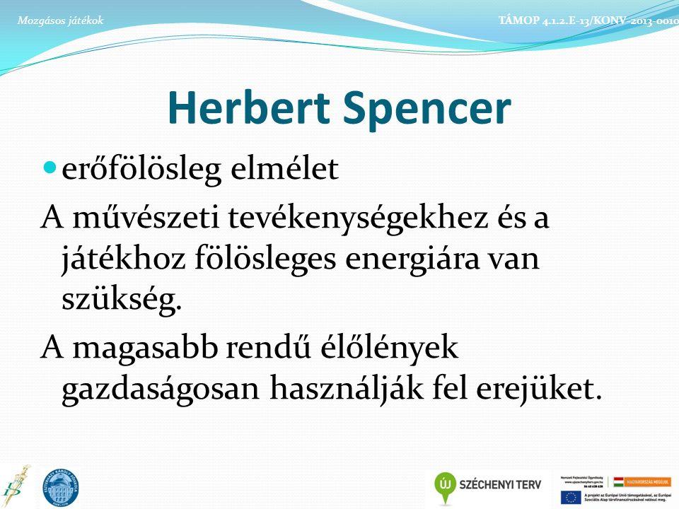 Herbert Spencer erőfölösleg elmélet A művészeti tevékenységekhez és a játékhoz fölösleges energiára van szükség.