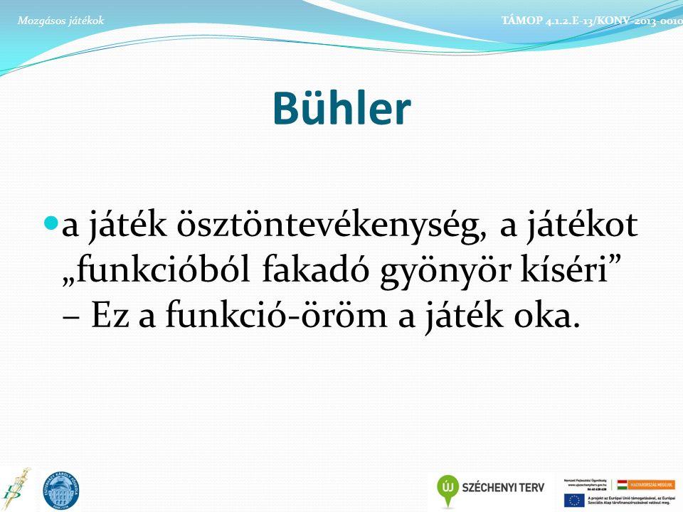 """Bühler a játék ösztöntevékenység, a játékot """"funkcióból fakadó gyönyör kíséri"""" – Ez a funkció-öröm a játék oka. TÁMOP 4.1.2.E-13/KONV-2013-0010Mozgáso"""