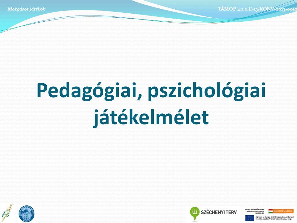Pedagógiai, pszichológiai játékelmélet TÁMOP 4.1.2.E-13/KONV-2013-0010Mozgásos játékok