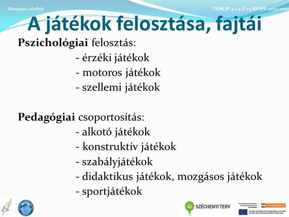 A játékok felosztása, fajtái Pszichológiai felosztás: - érzéki játékok - motoros játékok - szellemi játékok Pedagógiai csoportosítás: - alkotó játékok - konstruktív játékok - szabályjátékok - didaktikus játékok, mozgásos játékok - sportjátékok TÁMOP 4.1.2.E-13/KONV-2013-0010Mozgásos játékok