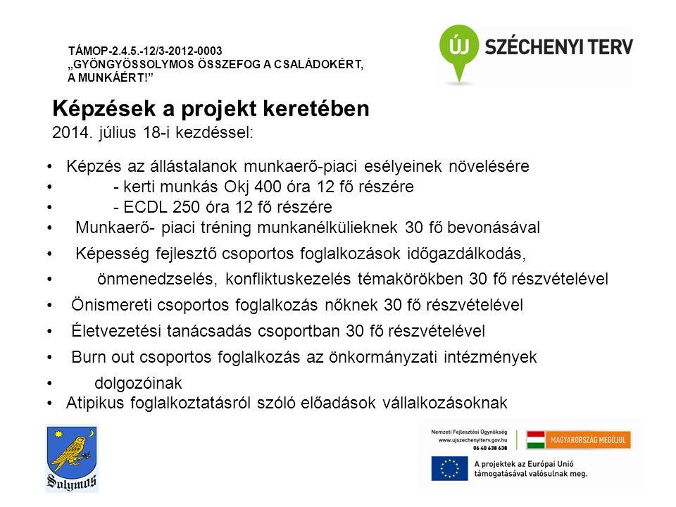 Képzések a projekt keretében 2014.
