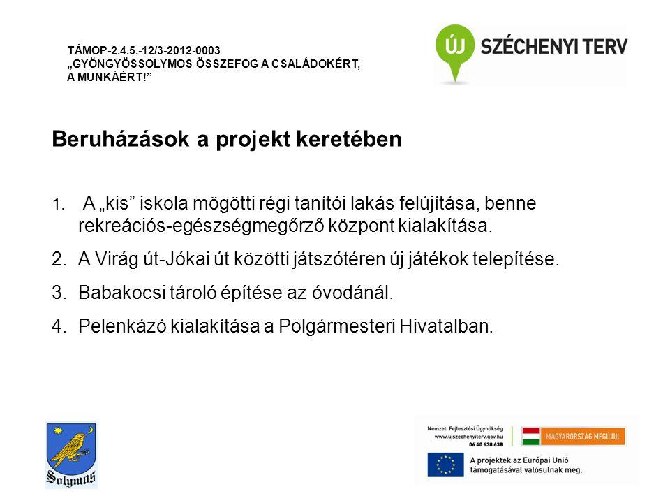 """Beruházások a projekt keretében TÁMOP-2.4.5.-12/3-2012-0003 """"GYÖNGYÖSSOLYMOS ÖSSZEFOG A CSALÁDOKÉRT, A MUNKÁÉRT! 1."""