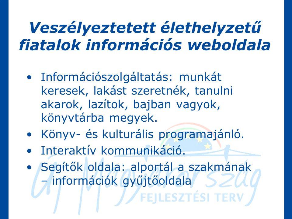 Veszélyeztetett élethelyzetű fiatalok információs weboldala Információszolgáltatás: munkát keresek, lakást szeretnék, tanulni akarok, lazítok, bajban vagyok, könyvtárba megyek.