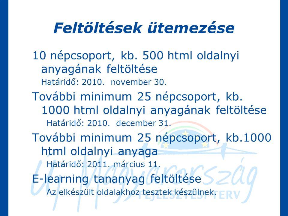 Feltöltések ütemezése 10 népcsoport, kb. 500 html oldalnyi anyagának feltöltése Határidő: 2010.