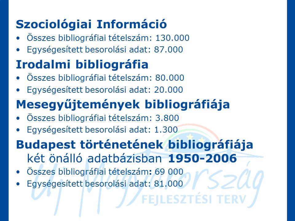 Szociológiai Információ Összes bibliográfiai tételszám: 130.000 Egységesített besorolási adat: 87.000 Irodalmi bibliográfia Összes bibliográfiai tételszám: 80.000 Egységesített besorolási adat: 20.000 Mesegyűjtemények bibliográfiája Összes bibliográfiai tételszám: 3.800 Egységesített besorolási adat: 1.300 Budapest történetének bibliográfiája két önálló adatbázisban 1950-2006 Összes bibliográfiai tételszám: 69 000 Egységesített besorolási adat: 81.000