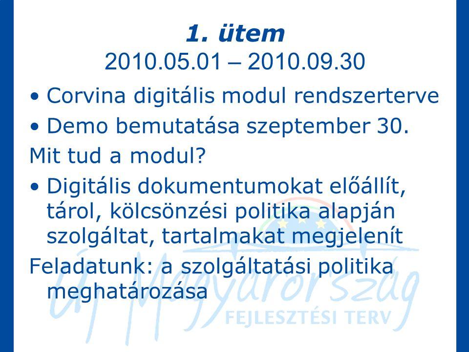1. ütem 2010.05.01 – 2010.09.30 Corvina digitális modul rendszerterve Demo bemutatása szeptember 30. Mit tud a modul? Digitális dokumentumokat előállí