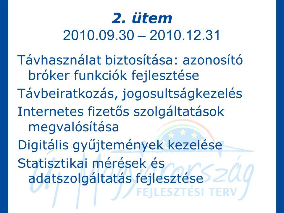 2. ütem 2010.09.30 – 2010.12.31 Távhasználat biztosítása: azonosító bróker funkciók fejlesztése Távbeiratkozás, jogosultságkezelés Internetes fizetős