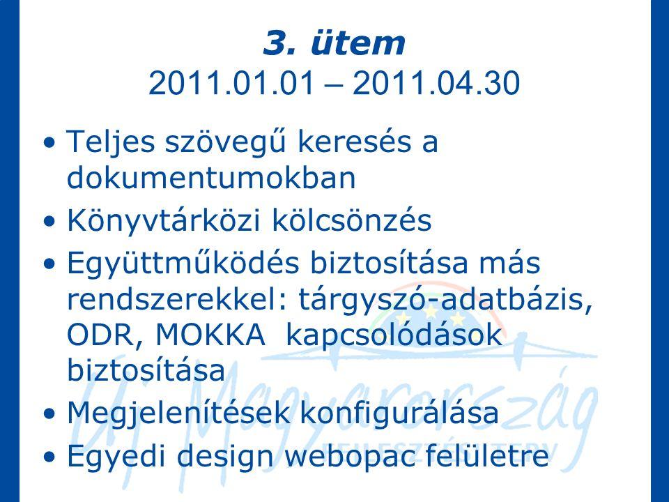 3. ütem 2011.01.01 – 2011.04.30 Teljes szövegű keresés a dokumentumokban Könyvtárközi kölcsönzés Együttműködés biztosítása más rendszerekkel: tárgyszó