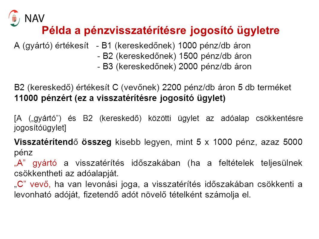 """Példa a pénzvisszatérítésre jogosító ügyletre A (gyártó) értékesít - B1 (kereskedőnek) 1000 pénz/db áron - B2 (kereskedőnek) 1500 pénz/db áron - B3 (kereskedőnek) 2000 pénz/db áron B2 (kereskedő) értékesít C (vevőnek) 2200 pénz/db áron 5 db terméket 11000 pénzért (ez a visszatérítésre jogosító ügylet) [A (""""gyártó ) és B2 (kereskedő) közötti ügylet az adóalap csökkentésre jogosítóügylet] Visszatérítendő összeg kisebb legyen, mint 5 x 1000 pénz, azaz 5000 pénz """"A gyártó a visszatérítés időszakában (ha a feltételek teljesülnek csökkentheti az adóalapját."""