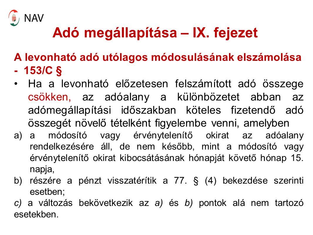 Adó megállapítása – IX.