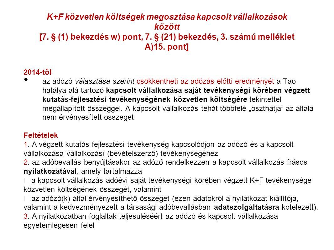 K+F közvetlen költségek megosztása kapcsolt vállalkozások között [7.