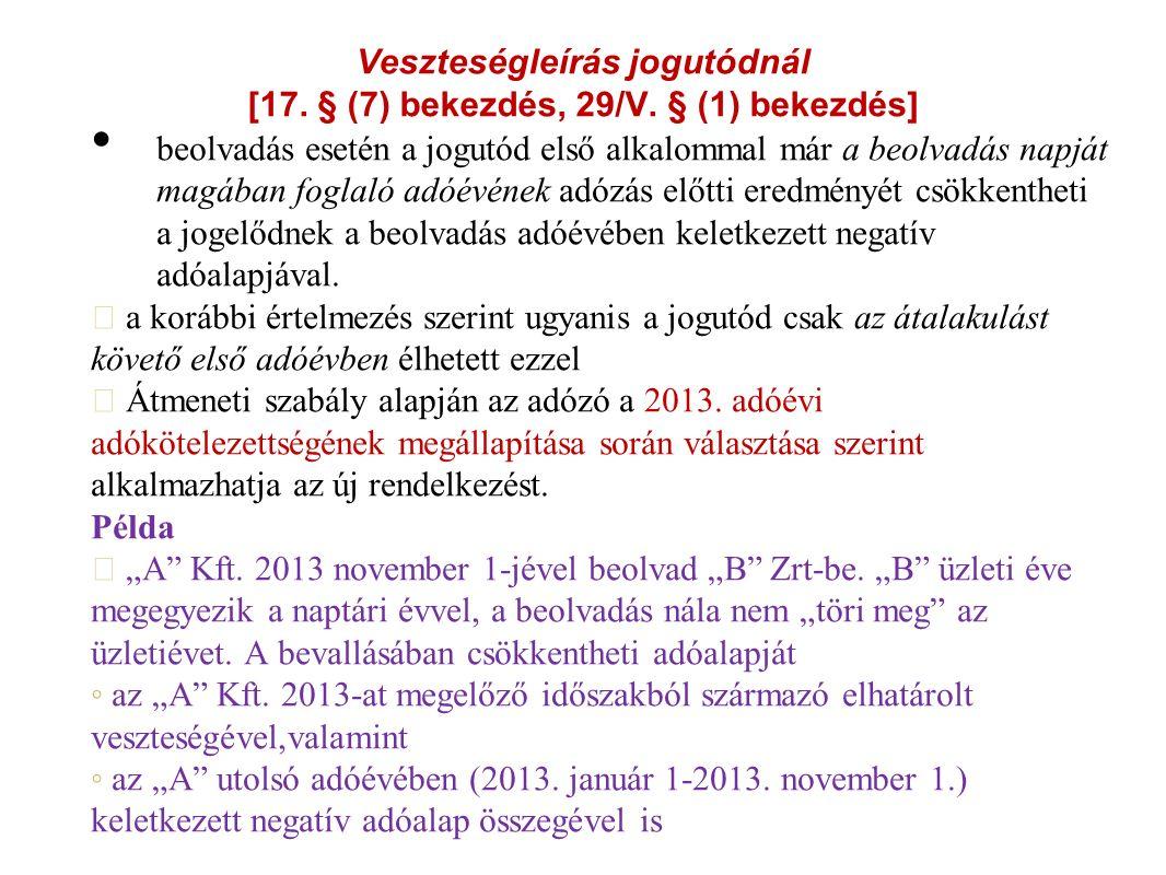 Veszteségleírás jogutódnál [17. § (7) bekezdés, 29/V.
