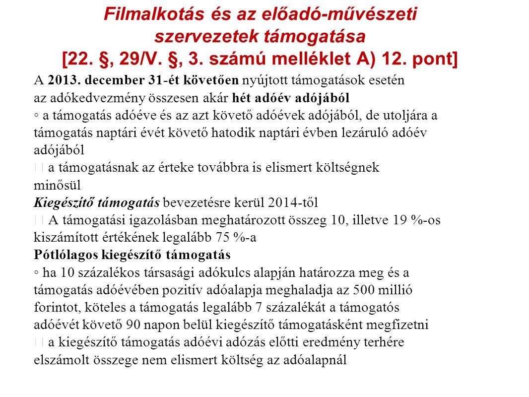 Filmalkotás és az előadó-művészeti szervezetek támogatása [22.