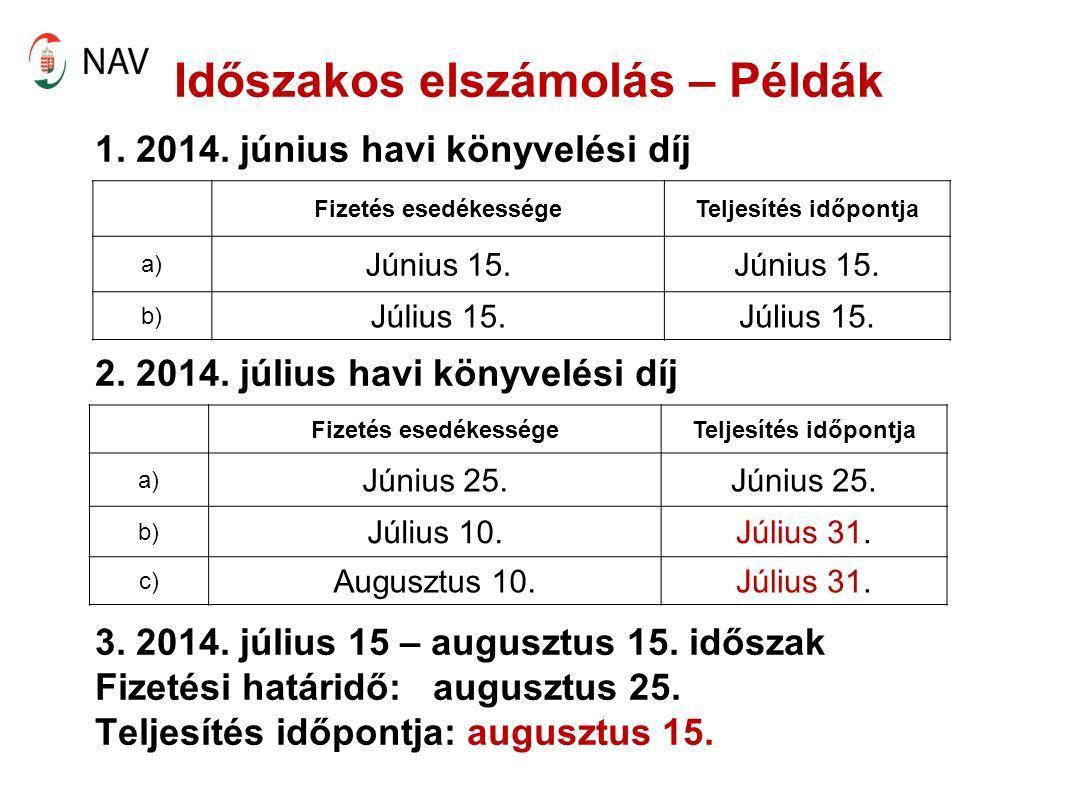 Időszakos elszámolás – Példák 1. 2014. június havi könyvelési díj 2.
