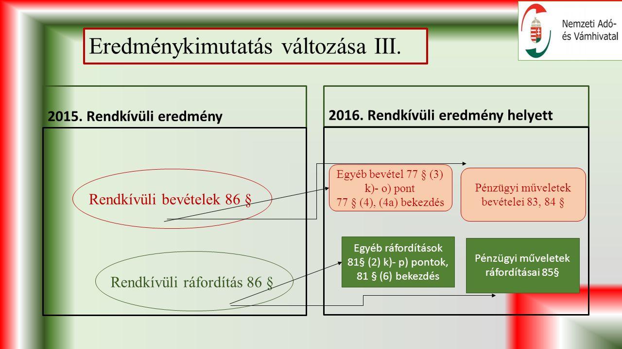 Eredménykimutatás változása III. 2015. Rendkívüli eredmény 2016.