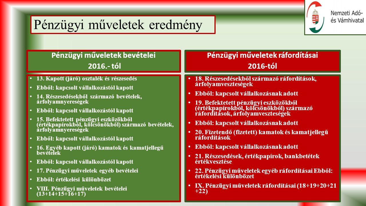 Pénzügyi műveletek eredmény Pénzügyi műveletek bevételei 2016.- tól 13.