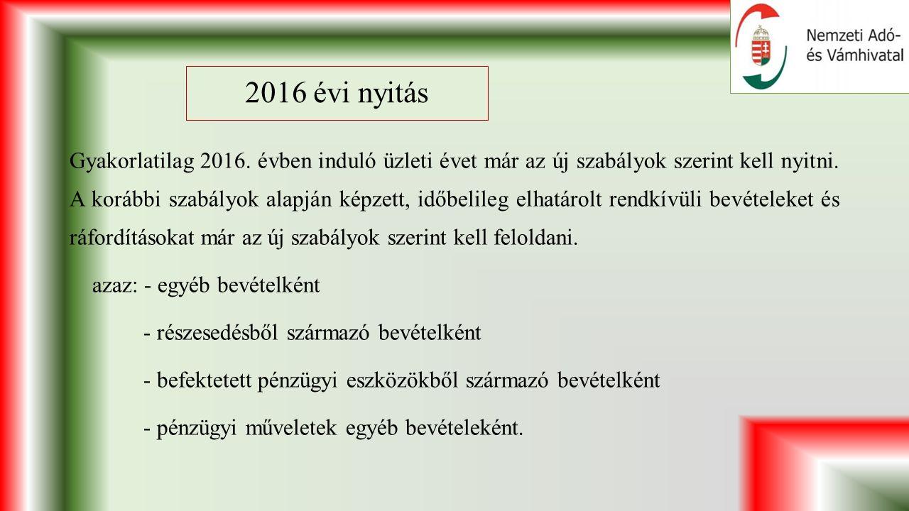 2016 évi nyitás Gyakorlatilag 2016.