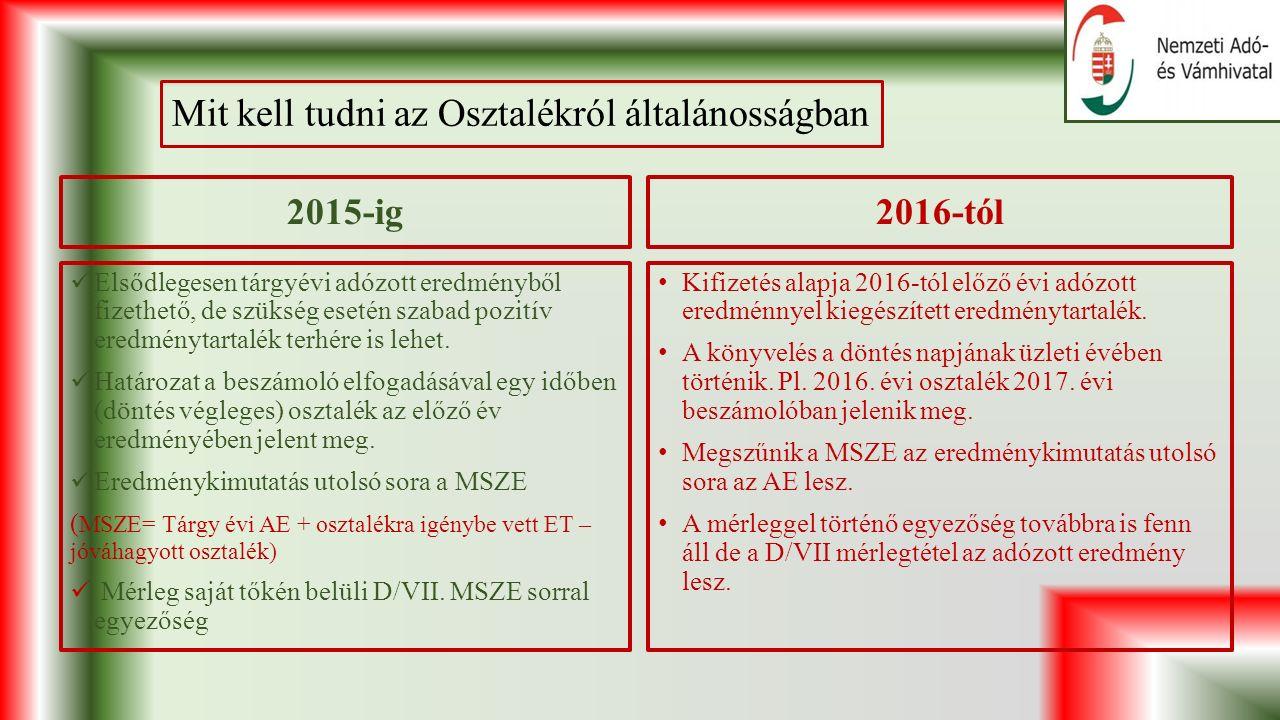 Mit kell tudni az Osztalékról általánosságban 2015-ig Elsődlegesen tárgyévi adózott eredményből fizethető, de szükség esetén szabad pozitív eredménytartalék terhére is lehet.