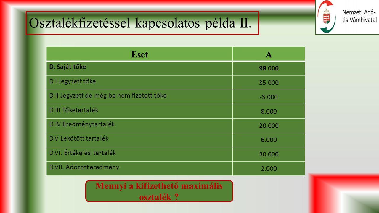 Osztalékfizetéssel kapcsolatos példa II. EsetA D.