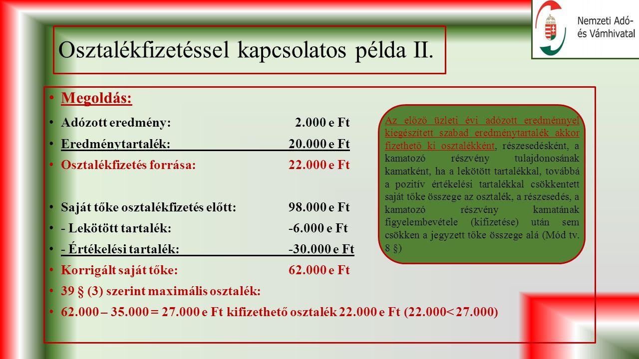 Osztalékfizetéssel kapcsolatos példa II.