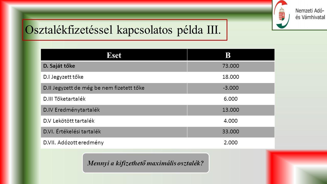 Osztalékfizetéssel kapcsolatos példa III. EsetBABA D.