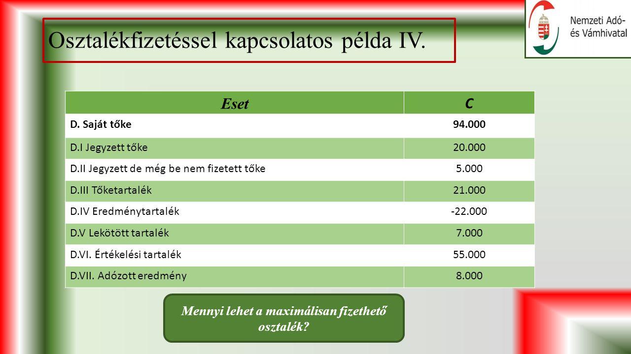 Osztalékfizetéssel kapcsolatos példa IV.Eset C D.