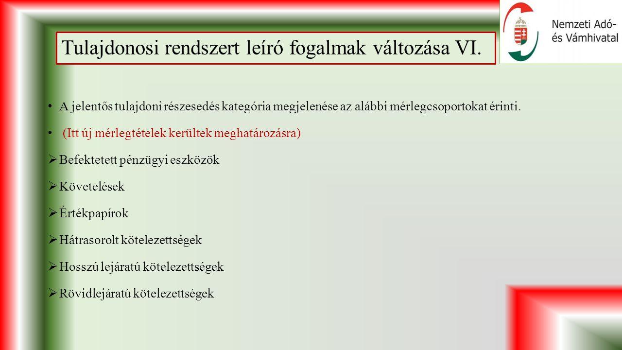 Tulajdonosi rendszert leíró fogalmak változása VI.