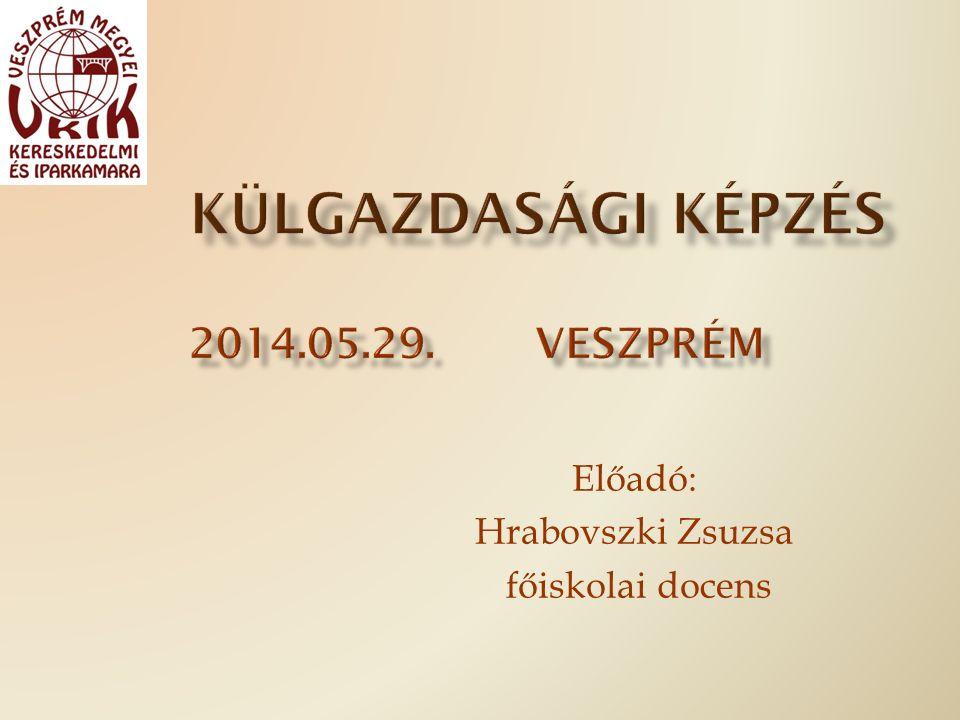 Előadó: Hrabovszki Zsuzsa főiskolai docens