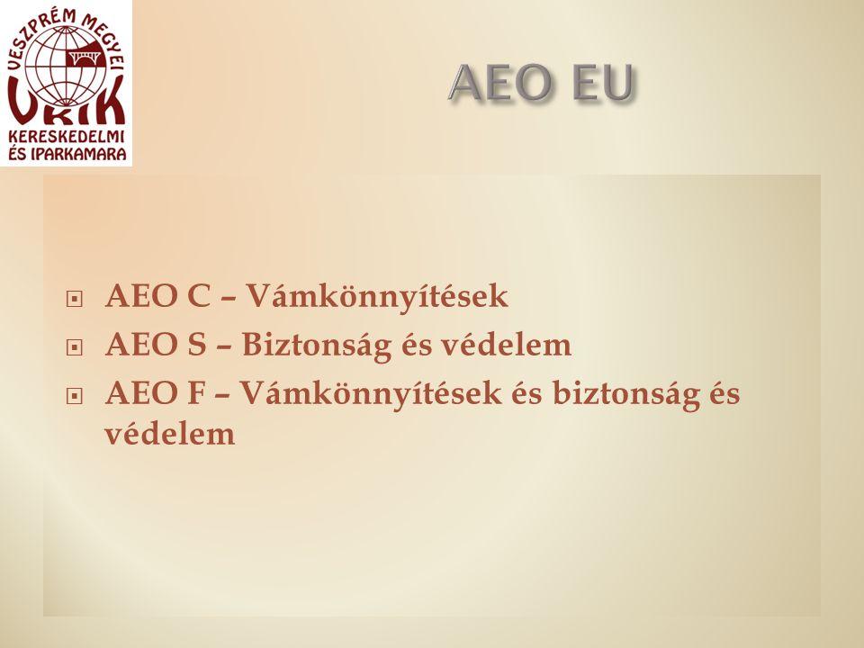  AEO C – Vámkönnyítések  AEO S – Biztonság és védelem  AEO F – Vámkönnyítések és biztonság és védelem