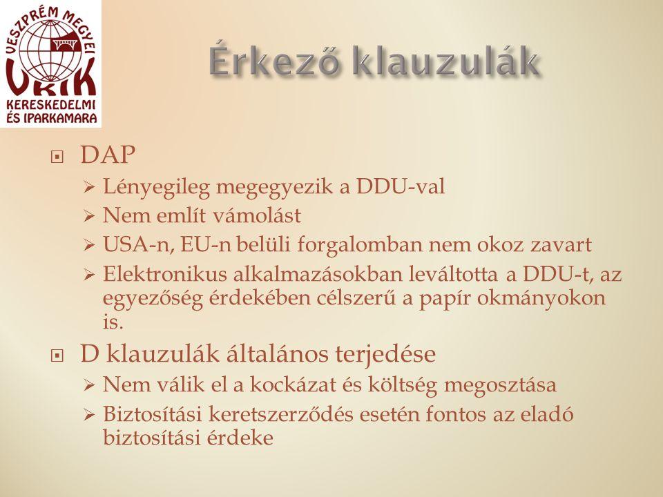  DAP  Lényegileg megegyezik a DDU-val  Nem említ vámolást  USA-n, EU-n belüli forgalomban nem okoz zavart  Elektronikus alkalmazásokban leváltotta a DDU-t, az egyezőség érdekében célszerű a papír okmányokon is.