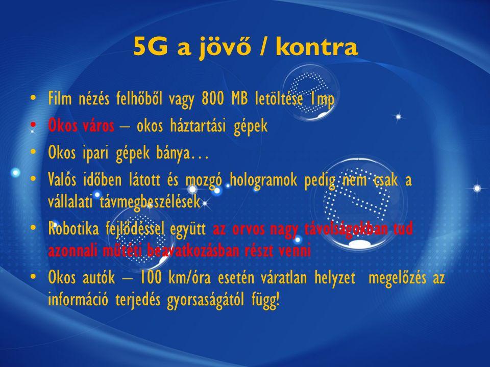 5G a jövő / kontra Film nézés felhőből vagy 800 MB letöltése 1mp Okos város – okos háztartási gépek Okos ipari gépek bánya… Valós időben látott és mozgó hologramok pedig nem csak a vállalati távmegbeszélések Robotika fejlődéssel együtt az orvos nagy távolságokban tud azonnali műtéti beavatkozásban részt venni Okos autók – 100 km/óra esetén váratlan helyzet megelőzés az információ terjedés gyorsaságától függ!