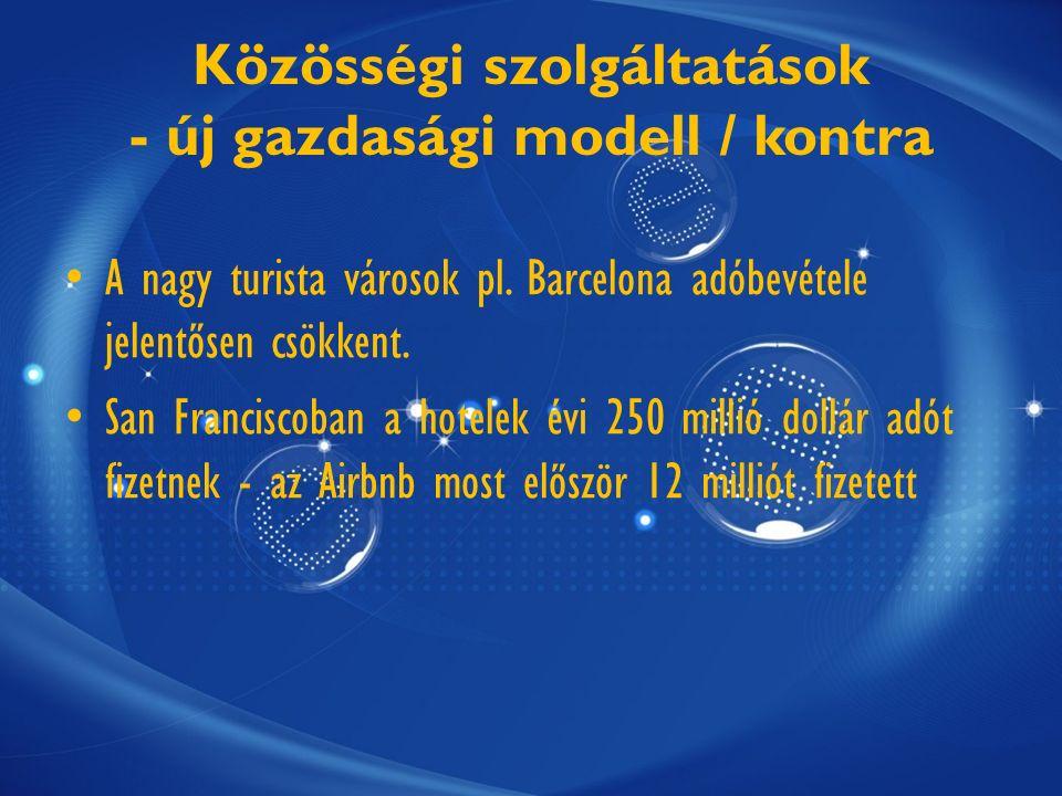 Közösségi szolgáltatások - új gazdasági modell / kontra A nagy turista városok pl.